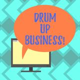 Text sign showing Drum Up Business. Conceptual photo increase deanalysisd activity or get support for something Mounted stock illustration