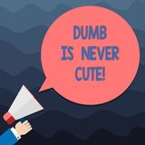 Text sign showing Dumb Is Never Cute. Conceptual photo To be stupid ignorant is never an attractive feature Hu analysis. Hand Holding Megaphone Blank Round vector illustration