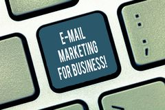 Text sign showing E Mail Marketing For Business. Conceptual photo Mailing as advertising campaign strategies Keyboard. Key Intention to create computer message stock photo