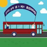 Text sign showing Each Day Is A New Beginning. Conceptual photo Every morning you can start again Inspiration Two Kids. Inside School Bus Holding Out Banner royalty free illustration