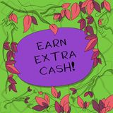 Text sign showing Earn Extra Cash. Conceptual photo Make additional money more incomes bonus revenue benefits Tree. Branches Scattered with Leaves Surrounding royalty free illustration