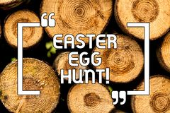 Text sign showing Easter Egg Hunt. Conceptual photo Searching special season treats presents spring tradition Wooden stock photography