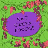 Text sign showing Eat Green Foods. Conceptual photo Eating more vegetables healthy diet vegetarian veggie demonstrating. Tree Branches Scattered with Leaves vector illustration