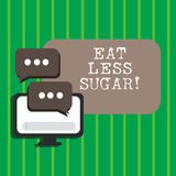 Text sign showing Eat Less Sugar. Conceptual photo Reduction of eating sweets Diabetic control dieting. Text sign showing Eat Less Sugar. Conceptual photo royalty free illustration
