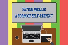 Text sign showing Eating Well Is A Form Of Self Respect. Conceptual photo a quote of promoting healthy lifestyle Upper. Text sign showing Eating Well Is A Form vector illustration