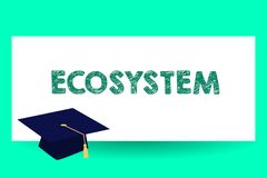 Text sign showing Ecosystem. Conceptual photo biological community of interacting organisms and environment Graduation hat with. Tassel Scholar Academic cap royalty free illustration