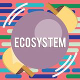 Text sign showing Ecosystem. Conceptual photo biological community of interacting organisms and environment Table Tennis Racket stock illustration