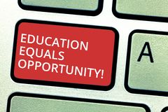 Text sign showing Education Equals Opportunity. Conceptual photo similar rights to gain knowledge in a school Keyboard. Key Intention to create computer message royalty free stock photo