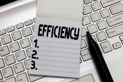 Text sign showing Efficiency. Conceptual photo State or quality of being efficient Good perforanalysisce improvement.  stock photo
