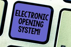 Text sign showing Electronic Opening System. Conceptual photo Electronic access control system Keycards Keyboard key. Intention to create computer message royalty free stock photography