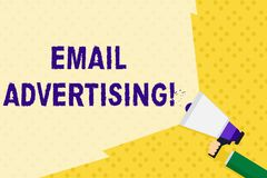 Text sign showing Email Advertising. Conceptual photo act of sending a commercial message to target market Hand Holding. Text sign showing Email Advertising vector illustration