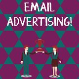 Text sign showing Email Advertising. Conceptual photo act of sending a commercial message to target market Man and Woman. Text sign showing Email Advertising vector illustration
