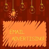 Text sign showing Email Advertising. Conceptual photo act of sending a commercial message to target market Set of. Text sign showing Email Advertising. Business vector illustration