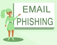 Text sign showing Email Phishing. Conceptual photo Emails that may link to websites that distribute malware stock illustration