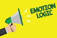 Text sign showing Emotion Logic. Conceptual photo Heart or Brain Soul or Intelligence Confusion Equal Balance Man holding megaphon. E loudspeaker yellow vector illustration