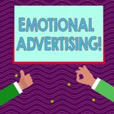 Text sign showing Emotional Advertising. Conceptual photo persuasion method used to create emotional feedback Two. Text sign showing Emotional Advertising stock illustration
