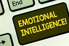 Text sign showing Emotional Intelligence. Conceptual photo Capacity to control and be aware of demonstratingal emotions Keyboard. Key Intention to create stock photo
