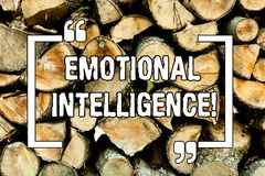 Text sign showing Emotional Intelligence. Conceptual photo Capacity to control and be aware of demonstratingal emotions Wooden. Background vintage wood wild stock photo