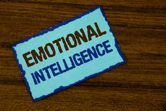 Text sign showing Emotional Intelligence. Conceptual photo Capacity to control and be aware of personal emotions written on Sticky. Text sign showing Emotional stock photos