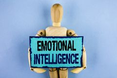 Text sign showing Emotional Intelligence. Conceptual photo Capacity to control and be aware of personal emotions written on Sticky. Text sign showing Emotional royalty free stock photo
