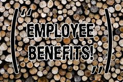 Text sign showing Employee Benefits. Conceptual photo list of advantage recruiter get at work Insurance Wooden background vintage. Wood wild message ideas stock photography