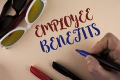 Text sign showing Employee Benefits. Conceptual photo list of advantage recruiter get at work Insurance written by Man on plain ba. Text sign showing Employee Royalty Free Stock Photos