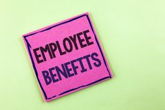 Text sign showing Employee Benefits. Conceptual photo list of advantage recruiter get at work Insurance written on Pink Sticky Not. Text sign showing Employee Royalty Free Stock Photo