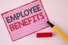 Text sign showing Employee Benefits. Conceptual photo list of advantage recruiter get at work Insurance written on Pink Sticky Not. Text sign showing Employee Stock Image