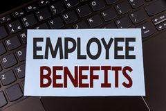 Text sign showing Employee Benefits. Conceptual photo list of advantage recruiter get at work Insurance written on Sticky Note Pap. Text sign showing Employee Royalty Free Stock Image