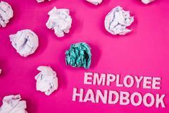 Text sign showing Employee Handbook. Conceptual photo Document Manual Regulations Rules Guidebook Policy Code Text Words pink back. Ground crumbled paper notes stock photography