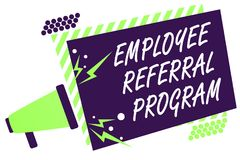 Text sign showing Employee Referral Program. Conceptual photo employees recommend qualified friends relatives Megaphone loudspeake. R green striped frame Stock Photos