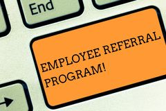 Text sign showing Employee Referral Program. Conceptual photo Recommend right jobseeker share vacant job post Keyboard. Text sign showing Employee Referral stock photos