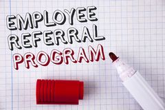 Text sign showing Employee Referral Program. Conceptual photo Recommend right jobseeker share vacant job post written on Notebook. Text sign showing Employee royalty free stock photography