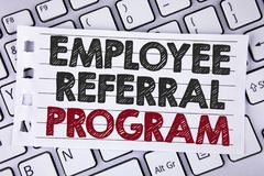 Text sign showing Employee Referral Program. Conceptual photo Recommend right jobseeker share vacant job post written on Notebook. Text sign showing Employee royalty free stock images