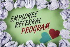 Text sign showing Employee Referral Program. Conceptual photo Recommend right jobseeker share vacant job post written on plain gre. Text sign showing Employee royalty free stock image