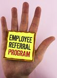 Text sign showing Employee Referral Program. Conceptual photo Recommend right jobseeker share vacant job post written on Yellow St. Text sign showing Employee stock photo