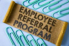 Text sign showing Employee Referral Program. Conceptual photo strategy work encourage employers through prizes written on Folded C. Text sign showing Employee stock photos