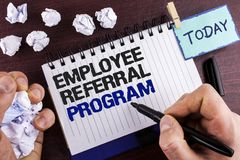 Text sign showing Employee Referral Program. Conceptual photo strategy work encourage employers through prizes written by Man on N. Text sign showing Employee royalty free stock photography
