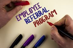 Text sign showing Employee Referral Program. Conceptual photo strategy work encourage employers through prizes written by Man on p. Text sign showing Employee stock photo
