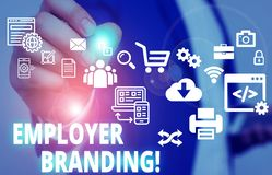 Free Text Sign Showing Employer Branding. Conceptual Photo Promoting Company Employer Choice To Desired Target Group Male Human Wear Royalty Free Stock Images - 160992709