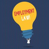 Text sign showing Employment Law. Conceptual photo encompassing all areas of employer employee relationship Person. Text sign showing Employment Law. Business stock illustration