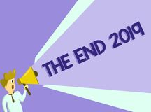 Text sign showing The End 2019. Conceptual photo Happy new year final days of 2018 Resolutions celebration.  royalty free illustration