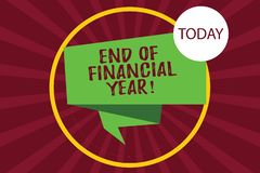 Text sign showing End Of Financial Year. Conceptual photo Revise and edit accounting sheets from previous year Folded 3D Ribbon stock illustration