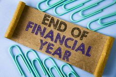 Text sign showing End Of Financial Year. Conceptual photo Taxes time accounting June database cost Sheets written on Folded Cardbo stock image
