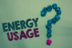Text sign showing Energy Usage. Conceptual photo Amount of energy consumed or used in a process or system Crumpled papers forming. Question mark several tries stock photo