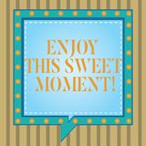 Text sign showing Enjoy This Sweet Moment. Conceptual photo encouraging someone to love his life timeline Square Speech. Bubbles Inside Another with Broken stock illustration