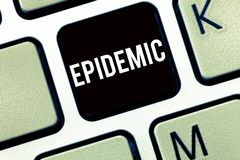 Text sign showing Epidemic. Conceptual photo Widespread occurrence of an infectious disease in a community stock photo