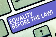 Text sign showing Equality Before The Law. Conceptual photo Justice balance protection equal rights for everyone. Keyboard key Intention to create computer royalty free stock photos