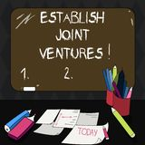 Text sign showing Establish Joint Ventures. Conceptual photo Two or more companies invest in a certain business Mounted Blank. Color Blackboard with Chalk and royalty free stock photos