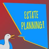 Text sign showing Estate Planning. Conceptual photo Insurance Investment Retirement Plan Mortgage Properties. Text sign showing Estate Planning. Business photo stock illustration